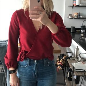 Madewell Red front tie blouse size small worn once